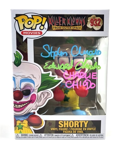 "Charlie, Stephen, Edward Chiodo Brothers Autograph Signed Funko Pop - Killer Klowns ""Shorty"" Pop (JSA COA)"
